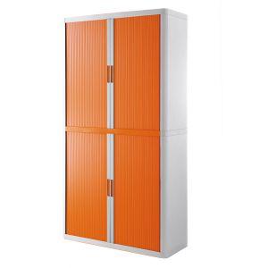 Armoire à rideaux EASY OFFICE 2m - Corps blanc, rideaux oranges, poignées oranges