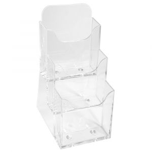 Lot de 4 distributeurs format prospectus 3 cases - EXACOMPTA - Cristal - 73158D