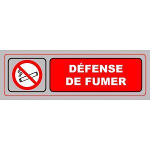 Plaque de signalisation défense de fumer - VISO - adhésif - 17 x 5 cm