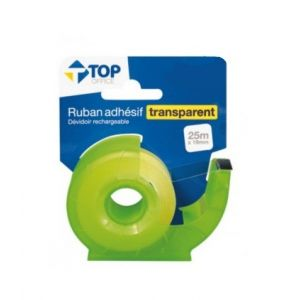 Ruban adhésif transparent - TOP OFFICE - Avec dévidoir rechargeable - 19mm x 25m - Vert