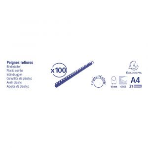Lot de 20 Boîtes de 100 reliures spirales plastique 10mm - EXACOMPTA - Noir - 75301E