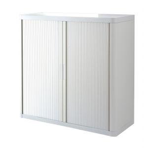 Armoire basse à rideaux EASY OFFICE 1m - Corps blanc, rideaux blancs, poignées blanches