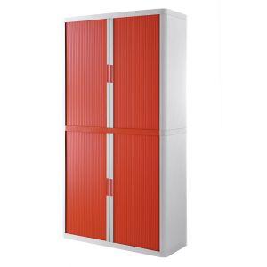 Armoire à rideaux EASY OFFICE 2m - Corps blanc, rideaux rouges, poignées rouges