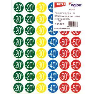 Pochette 240 Etiquettes D24mm - AGIPA - Remises Assorties
