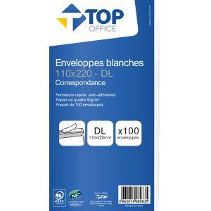 Lot de 100 enveloppes blanches autoadhésives - TOP OFFICE - DL - 110x220 mm - 80g