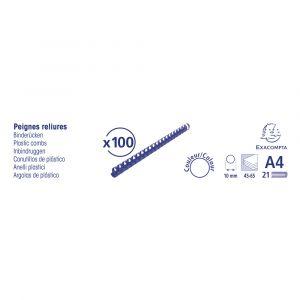 Lot de 20 Boîtes de 100 reliures spirales plastique 10mm - EXACOMPTA - Bleu - 75302E