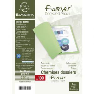 Lot de 5 paquets de 100 chemises Forever® 220 100% recyclé - 24 x 32 cm - EXACOMPTA - Fuschia - 410020E