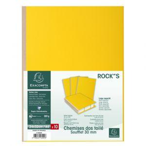 Lot de 10 chemises à soufflet rock''s - EXACOMPTA - 24 x 32 cm - Jaune citron - 416009E