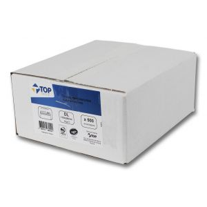 Boîte de 500 enveloppes blanches autoadhésives - TOP OFFICE - DL - 110x220 mm - 80g
