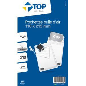 10 pochettes bulle d'air - TOP OFFICE - 110x215 mm - Antichoc - Auto-adhésives