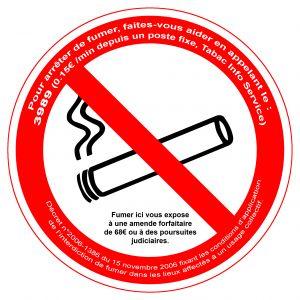 Plaque de signalisation interdiction de fumer - VISO - adhésif - D18 cm