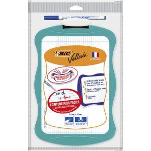 Ardoise blanche Velleda + effacette + feutre - BIC - 20 x 31 cm - Double face