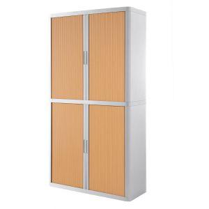 Armoire à rideaux EASY OFFICE 2m - Corps blanc, rideaux hêtre, poignées blanches