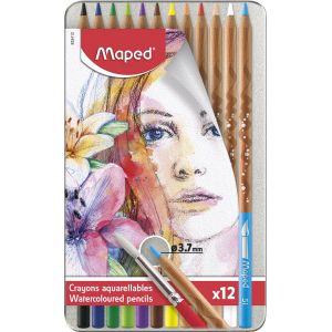 Boîte de 12 crayons de couleurs aquarellables - MAPED - Assortiment de couleurs