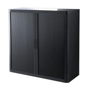 Armoire basse à rideaux EASY OFFICE 1m - Corps noir, rideaux noirs, poignées noires