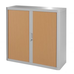 Armoire basse à rideaux EASY OFFICE 1m - Corps gris, rideaux hêtre, poignées grises