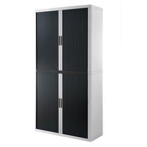 Armoire à rideaux EASY OFFICE 2m - Corps blanc, rideaux noirs, poignées noires