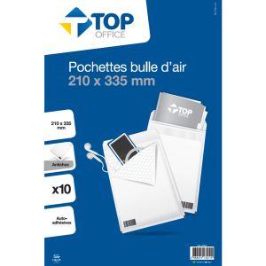 10 pochettes bulle d'air - TOP OFFICE - 210x335 mm - Antichoc - Auto-adhésives