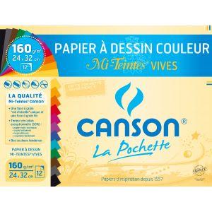 Pochette à dessins 12 feuilles CANSON - 160g - 24x32 - Couleurs mi-teintes vives