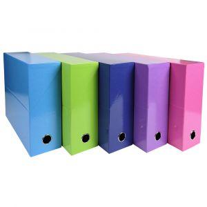Lot de 5 boîtes à archive Iderama - EXACOMPTA - Couleurs assorties A (tollit) - 89929E - Dos 90mm