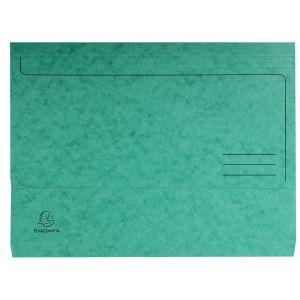 Lot de 25 chemises poche carte lustrée 265gm² - 24,5 x 32,5 cm - EXACOMPTA - Vert - 4793E