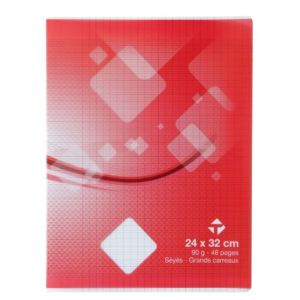 Cahier 24x32 cm - TOP OFFICE - 48 pages - Grands carreaux