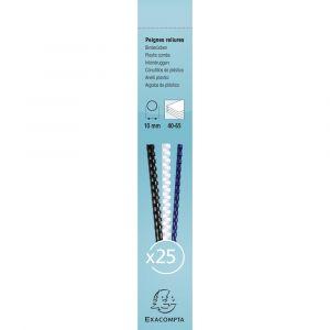 Lot de 40 Boîtes de 25 reliures spirales plastique 10mm - EXACOMPTA - Blanc - 76300E