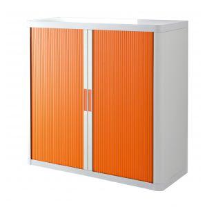 Armoire basse à rideaux EASY OFFICE 1m - Corps blanc, rideaux oranges, poignées oranges