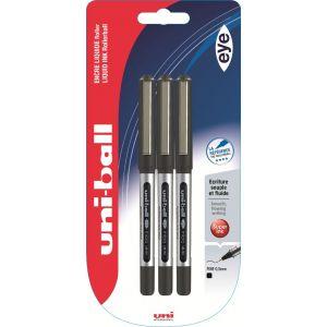 Lot de 3 stylos rollers Eye - UNI BALL - Noir