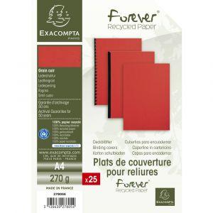 Lot de 15 Paquets de 25 couvertures grain cuir pour reliure A4 - EXACOMPTA - Rouge - 27805E
