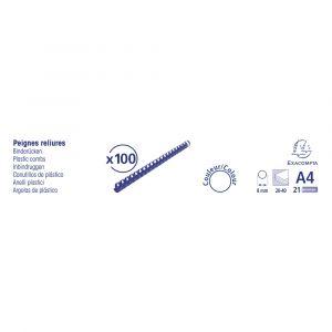 Lot de 20 Boîtes de 100 reliures spirales plastique 8mm - EXACOMPTA - Bleu - 75202E