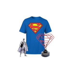Lot Superman - Lampe Néon, T-Shirt et Figurine - L