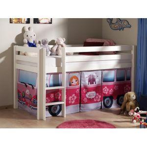 Lit enfant ALIZE surélevé 90x200 cm pin blanc tente Little Princess