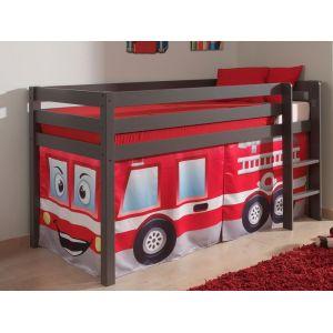 Lit enfant ALIZE surélevé 90x200 cm pin gris tente Pompier