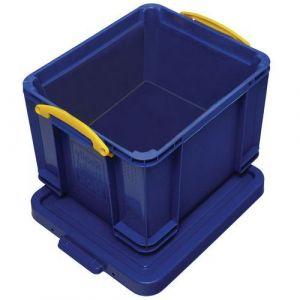 Bac de rangement plastique + couvercle 35L b leu,
