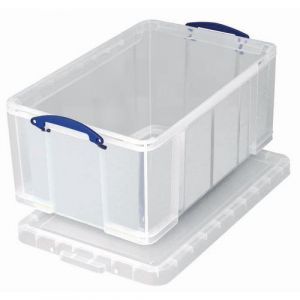 Bac de rangement plastique + couvercle 0,7L transparent,