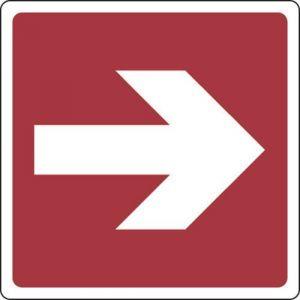 Panneau Flèche direction. vers la droite 350X350 - Adhésif,