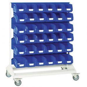 Rack à bacs mobile double face 72 bacs N°3 bleu,