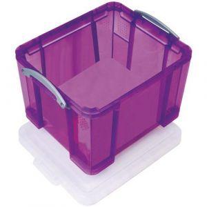 Bac de rangement plastique + couvercle 35L v iolet,