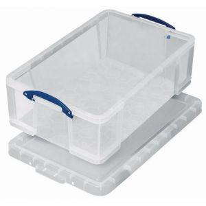 Bac de rangement plastique + couvercle 1,6L transparent,