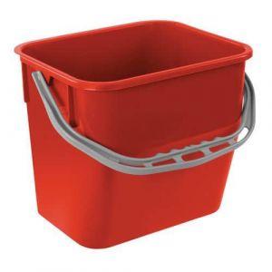 Seau en plastique rouge H:26.5 cm Cap.:12 L,