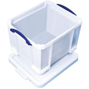 Bac de rangement plastique + couvercle 35L b lanc résistant,