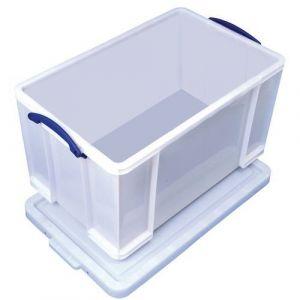 Bac de rangement plastique + couvercle 84L b lanc résistant,