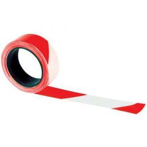 Ruban de signalisation Manutan 100mx50mm rouge/blanc,