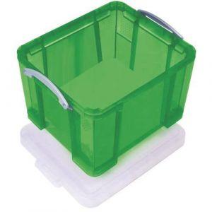 Bac de rangement plastique + couvercle 35L v ert,