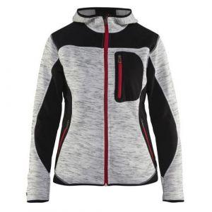 Veste tricotée à capuche femme Gris chiné/Noir taille XL,