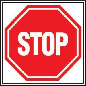 Panneau Interdiction Carré Stop - Rigide 480 Mm X 480 Mm