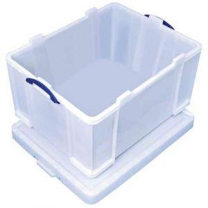 Bac de rangement plastique + couvercle 145L blanc résistant,
