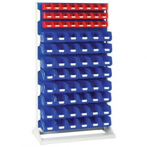 Rack fixe H 1775 mm Simple Face, 24 Bacs rouge, 48 bacs bleu,