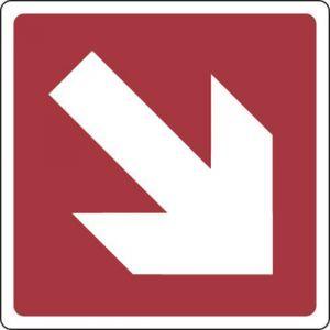 Panneau Flèche direction. coin haut droit 200X200 - Adhésif,